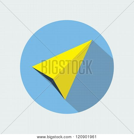 Navigation pointer flat icon sign. Navigator arrow symbol. Navigational pictogram. Vector icon of a navigation arrow in flat style with long shadow. EPS10 vector illustration.