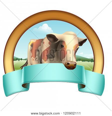 Cow and rural landscape with a colored banner. Vector illustration.