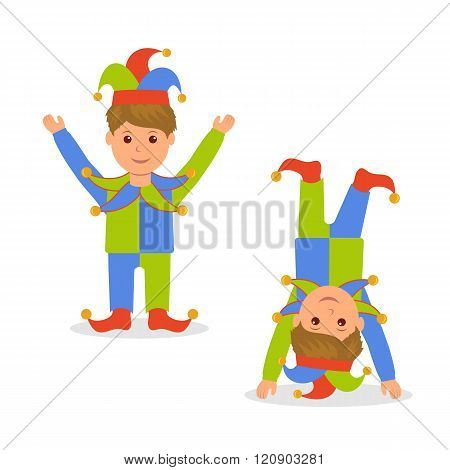 Isolated character in jester costume. April Fools Day. Joker standing with arms raised and standing