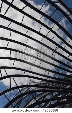 Laverstoke Mill, England - May 2015: A detailed photograph of the aluminium and glass structure of the Bombay Sapphire Distillery, the re-development of the 300 year old paper Mill