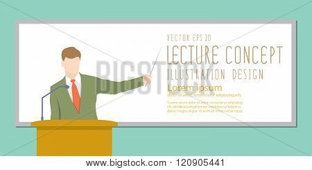 Lecturer Giving Lecture Or Presentation. Standing In Front Of Whiteboard Flat Vector.