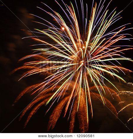 Fireworks burst isolated against dark background