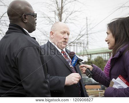 MAR 5 2016 - WOODBRIDGE, NJ: SMART TD General Chairperson Stephen Burkert spokesman for the NJ Transit Rail Labor Coalition representing 11 employee unions speaks to PIX 11 News reporter at the rally.