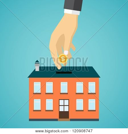 businessman hand putting coin inside the house.