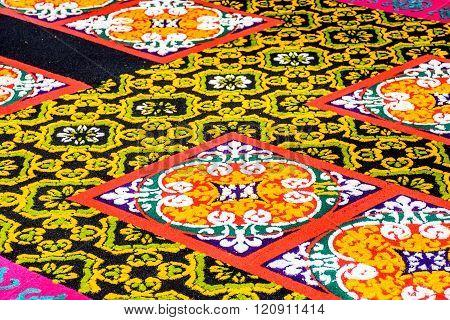Closeup Black & Yellow Dyed Sawdust Lent Carpet, Antigua, Guatemala