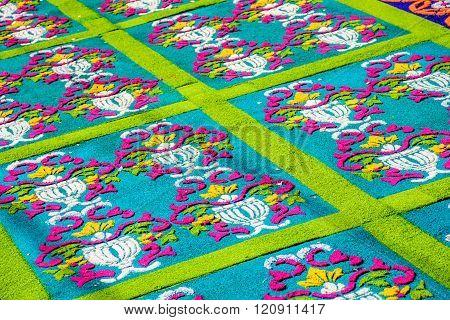 Closeup Green Patterned Dyed Sawdust Lent Carpet, Antigua, Guatemala