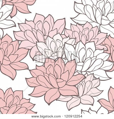 Stylish lotus flowers seamless background. Floral vector pattern. Rose quartz tint ornament.