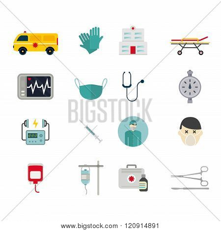 Ambulance reanimation icons vector illustration
