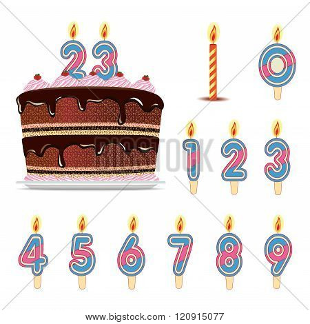 Birthday cake with number candles