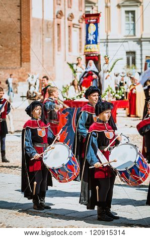 Medieval  Drummer In Parade
