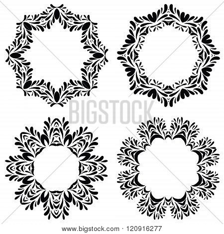 Vintage round frames set. Vector illustration.