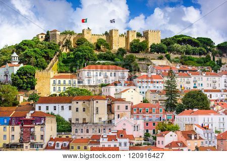 Lisbon, Portugal skyline at Sao Jorge Castle in the day.