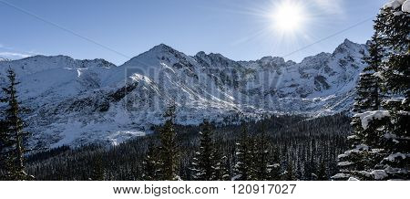 Winter Landscape, Scenery In High Altitude Mountains