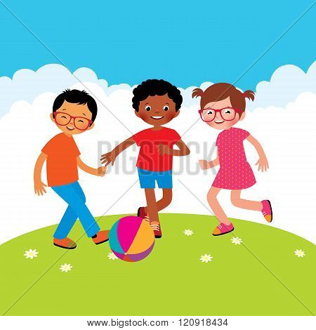 Group Of Kids Playing With A Ball