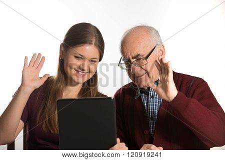 woman and senior man