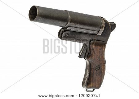 Old Signal Pistol, Flare Gun, Isolated On White Background