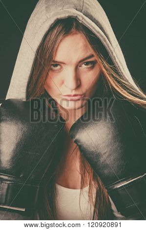 Woman Wear Hoodie And Boxer Gloves.