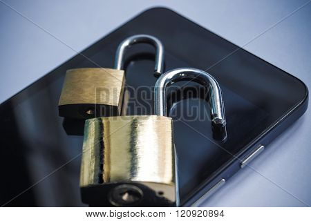 lock on a cell phone / security breach on mobile phone