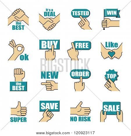 Hands gesticulate business related matters. Vector illustration.