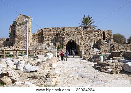 Ruins Of Fortified Crusader City In Caesarea