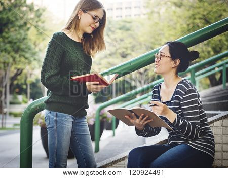 Girl Bonding Campus Causal College Analysis Concept