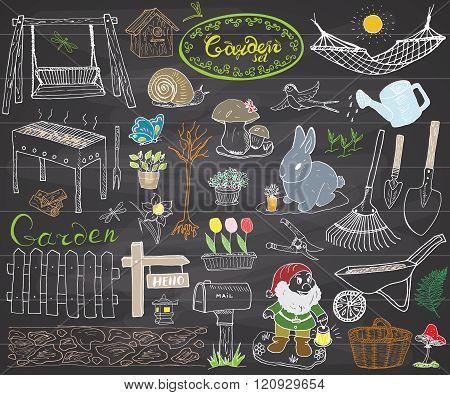 Garden Set Doodles Elements. Hand Drawn Sketch With Gardening Tools, Flovers And Plants, Garden Figu