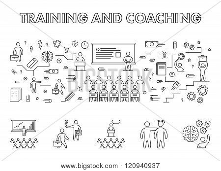 Vector line design concept web banner for training. Modern linear horizontal banner for coaching. Line creative style concept for web.