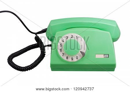 Old Green Rotary Telephone Isolated