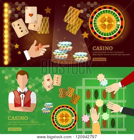 Casino Banner Design With Slots And Roulette Poker Game