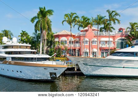 Luxury Mansion With A Yachts At Home Pier