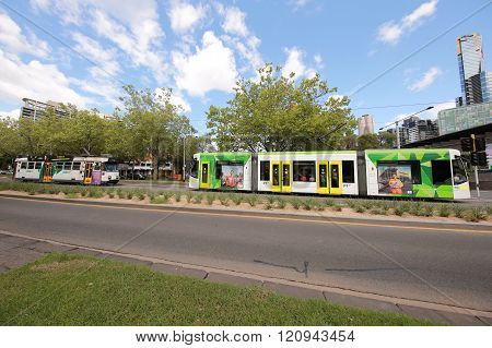 Modern Melbourne Tram the famous iconic transportation in the town.
