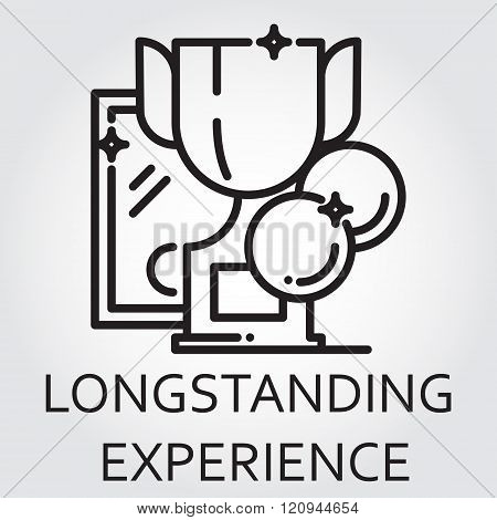 Black flat line vector icon with a picture of wide experience as award