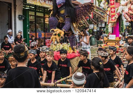 UBUD BALI - MARCH 8: Unidentified people during the celebration of Nyepi - Balinese Day of Silence on March 8 2016 in Ubud Bali Indonesia. The day following Nyepi is also celebrated as New year. poster