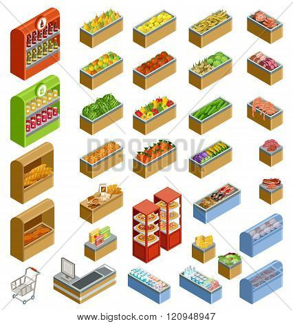 Vector isometric counters with food. Supermarket shop