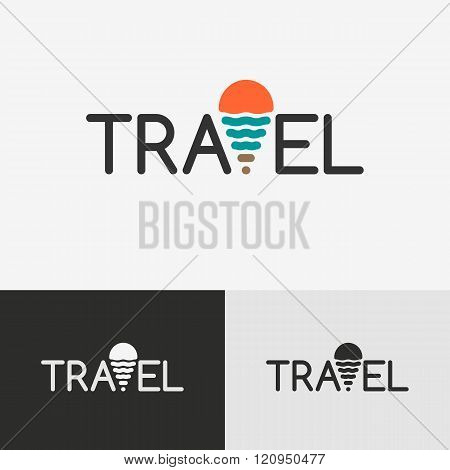Travel logo with the geo tag