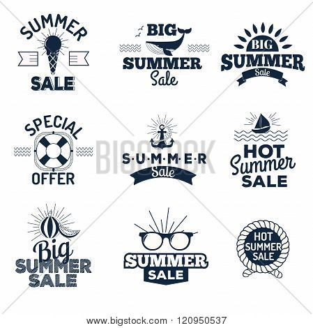 Summer sale logo vector illustration