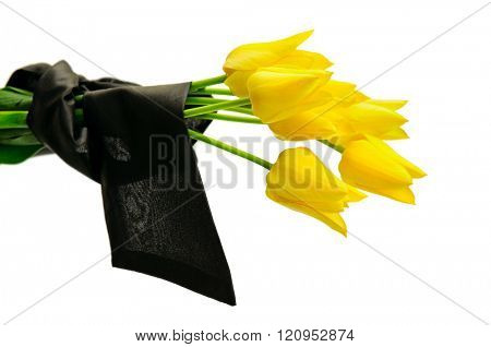 bouquet of yellow flowers isolated on white