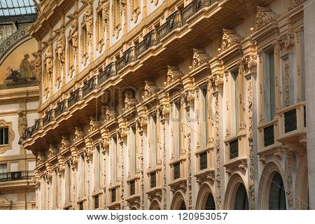 Wall of Vittorio Emmanuele II shopping gallery in Milan, Italy.
