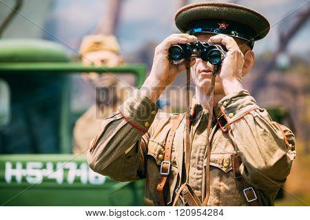 Close-up of figure soviet Russian officer the Second World War,