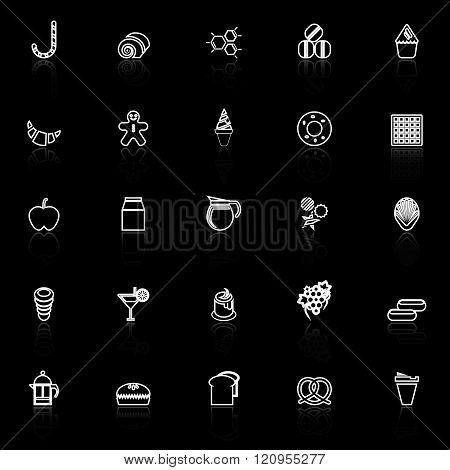 Sweet food line icons with reflect on black background stock vector