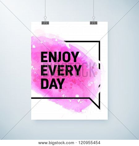 Poster Abstract Watercolor Design With Motivation Text