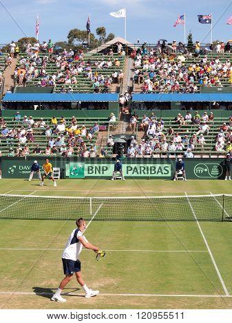 US Tennis player Jack Sock at the Davis Cup tie against Australia