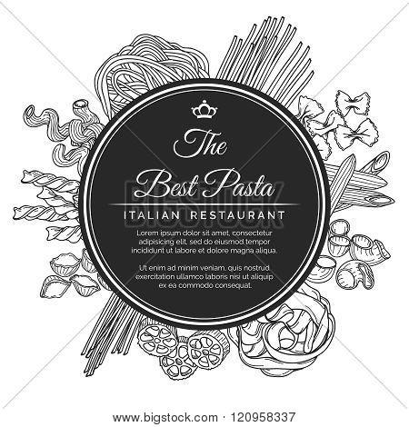 Hand drawn italian pasta restaurant poster