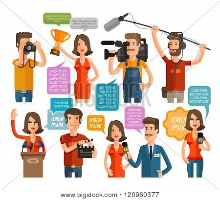 television and cinema icons set. vector illustration