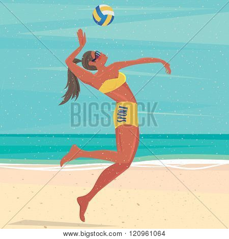 Girl Playing With A Ball At The Sea