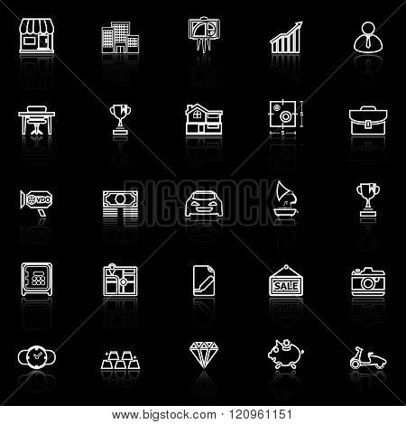 Asset and property line icons with reflect on black stock vector