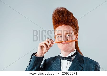 Funny concept for redheaded young man