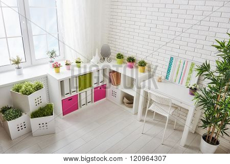 Interior of colorful unisex room for child