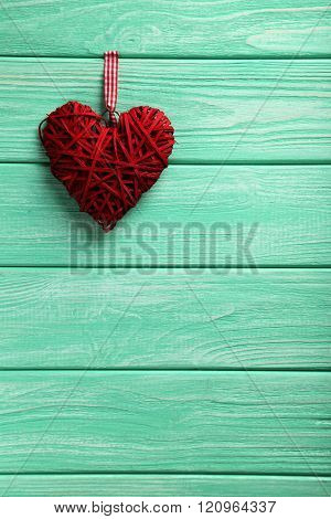 Love Heart On A Mint Wooden Background