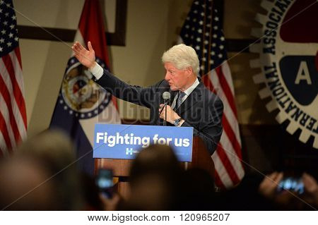 Bridgeton, MO/USA â?? March 08, 2016: Former president Bill Clinton speaks to supporters of wife Hillary Clinton, at District 9 Machinists Hall in Bridgeton, outside St. Louis.